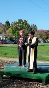 Sandy Fontana with Father Angelo